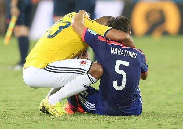 RT @Gustavora17: Guarín consolando Nagatomo, seu companheiro de Inter de Milão, é a imagem do dia http://t.co/TP7PQC1yEx