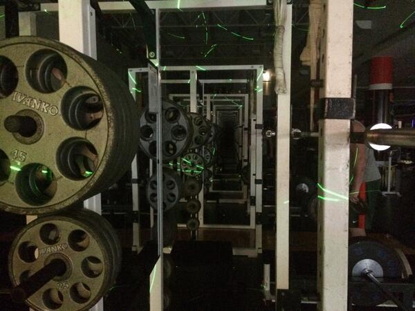 Don't the weights look awesome in the glow of strobe lighting? #RISEandGRIND http://t.co/brKWsM5Btp