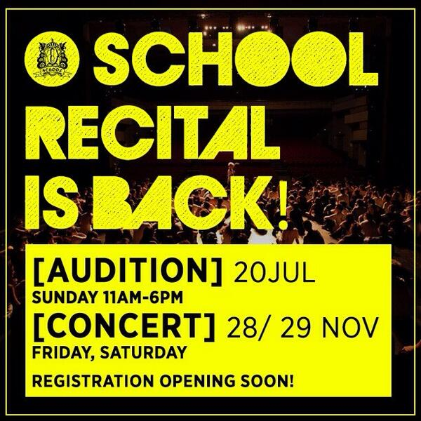 Be a part of the O School Recital 2014 on 28 & 29 Nov at Kallang Theatre! Stay tuned for Audition details! http://t.co/3Kx309DBfk