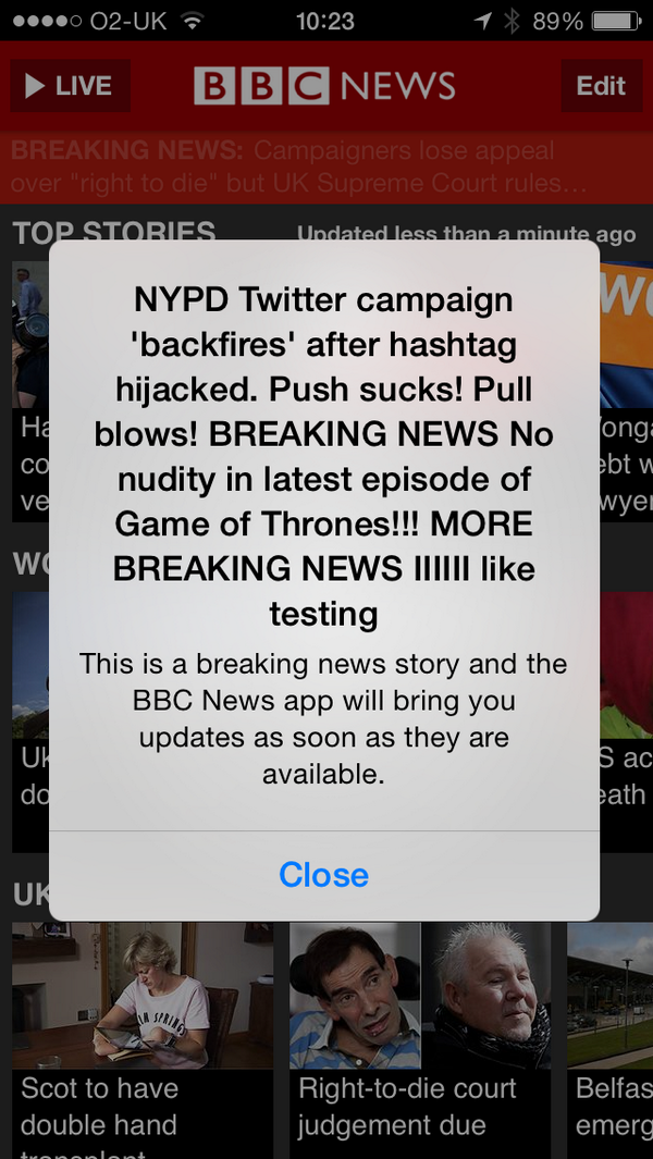I think @BBCNews's push notification stream may have been compromised http://t.co/4vtPOTe9aV