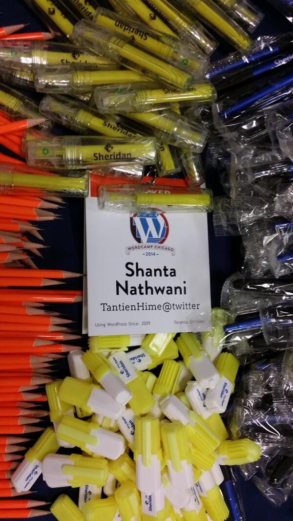 Getting ready for my WordPress 101 talk in the Media Room. Come by and get stuff! Thanks @sheridancollege! #WCChi http://t.co/iOYVV4vWir
