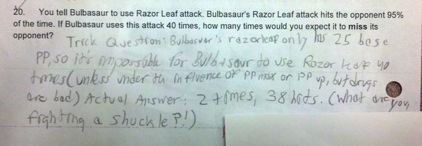 Teacher tries to put a Pokemon reference in a test to keep kids interested. It backfires. http://t.co/5aZuhc8iaN