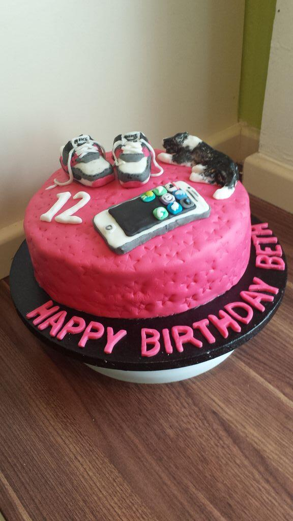 12th Birthday Favourite Things Cake For A Young Lady Who Likes Iphones Nike Airmax 90s And Her Dogpictwitter 2EXAEsMxdp