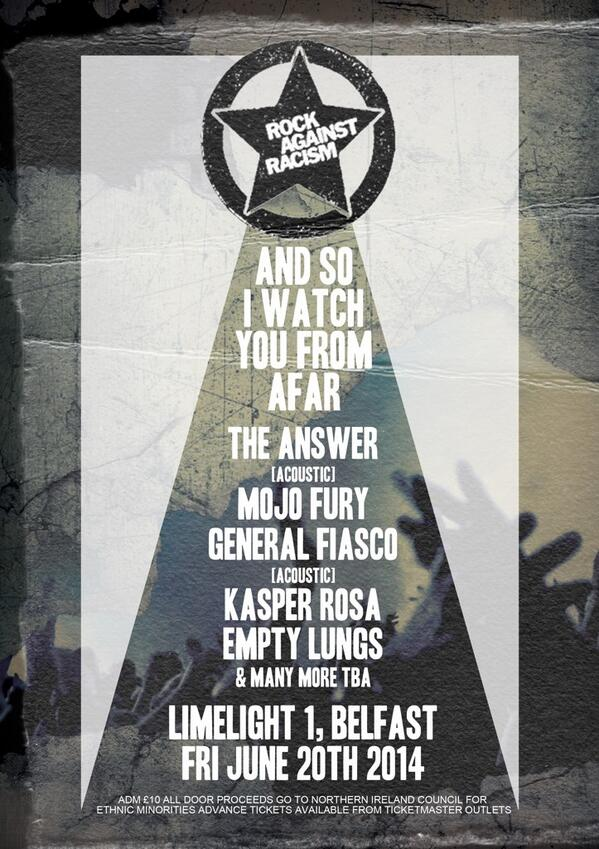 Anti Racism show just announced next week in Belfast. Spread the word. http://t.co/9A8gQaX3jH