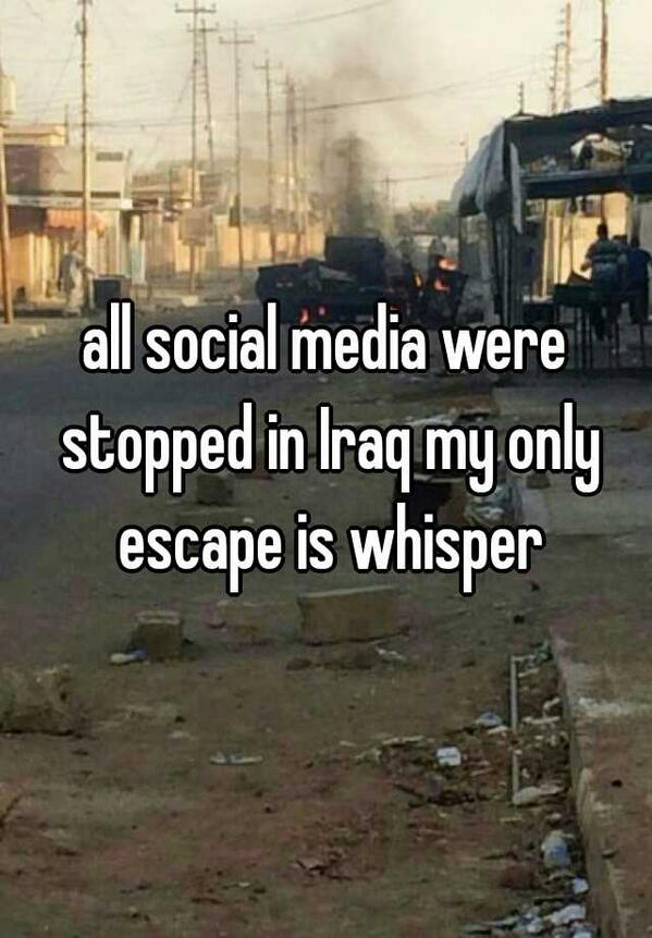 "Whoa: @WhisperApp user in Iraq confirms social media is down, says ""only escape is whisper"" http://t.co/nAU1DlLvHc http://t.co/NQMaGCJFfD"