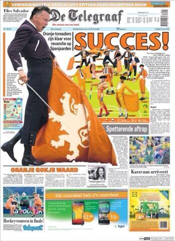 La portada del De Telegraaf de demà. No us la perdeu. http://t.co/N1HyBDGhh0