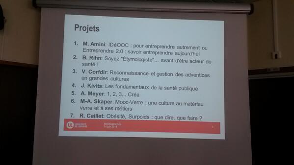 Les 7 projets  du #MOOCampNancy  #MOOCamp http://t.co/8x83BDQkrd