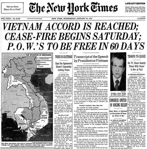 Image result for vietnam peace agreement newspaper images