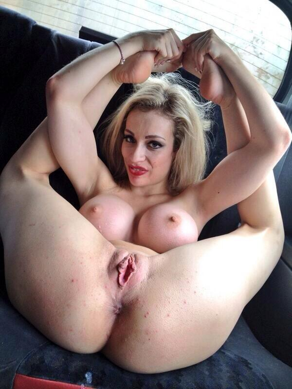Ella tight pussy lips grip onto a giant brutal dildo