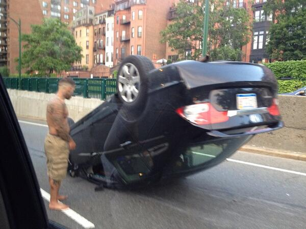 Whoa. Overturned car eastbound on Storrow Drive right now. Driver says he's alright. @universalhub http://t.co/X67chPmDpT