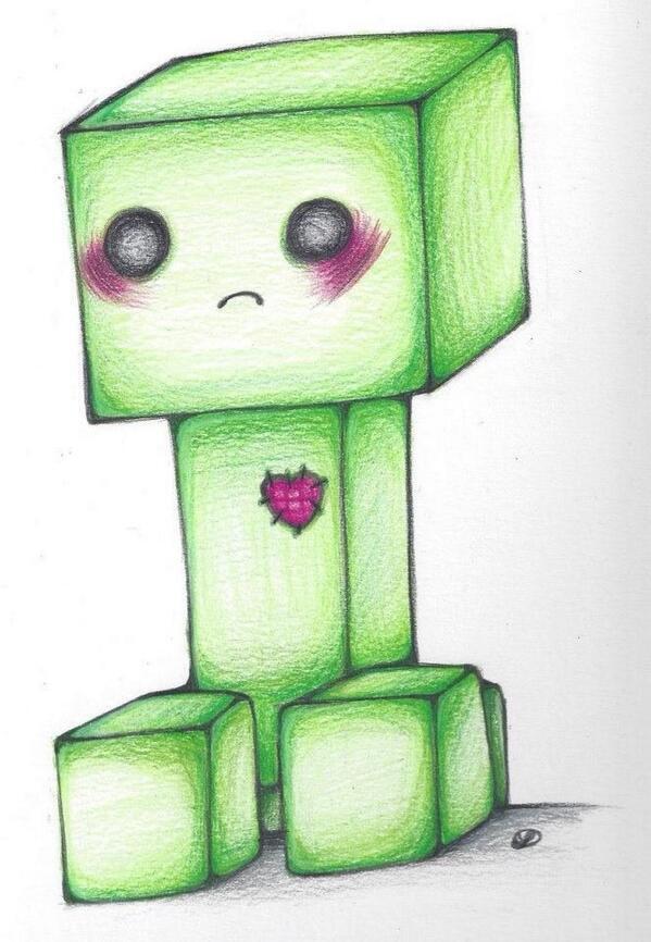 прикольные рисунки карандашом из майнкрафт примеру вот