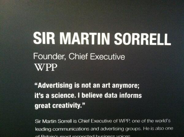 Great quote from Sir Martin Sorrell. We believe the same thing at @unmetric. cc @LuxNarayan #CannesLions http://t.co/k2xmuz4S0U