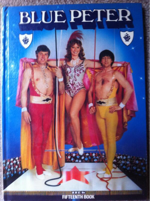 Lots of 70s Blue Peter annuals for sale in 20p box on New Road, including this camp classic http://t.co/DT16XYI8yw