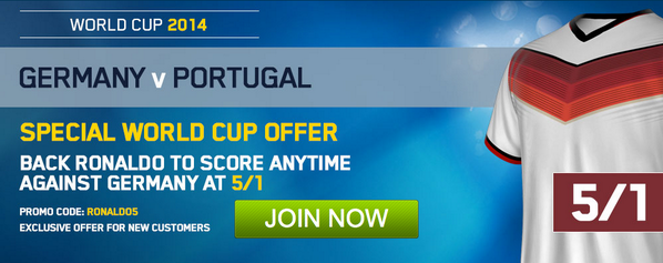 EXCLUSIVE Betting Special! Cristiano Ronaldo to score v Germany: was 11/8 now 5/1! [Enhanced Odds]