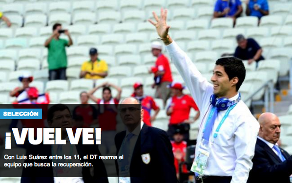 Liverpools Luis Suarez is back & in line to start for Uruguay v England [Ovacion]