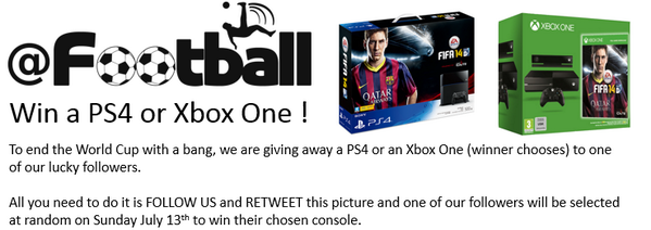 World Cup Competition RETWEET & FOLLOW US to win a PS4 or an Xbox One See Picture for details. #Competition #WorldCup http://t.co/caUWm5ikzf