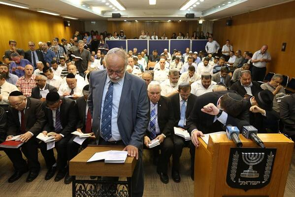 Prayers at the Knesset (via Marc Sellern from the Jerusalem Post)