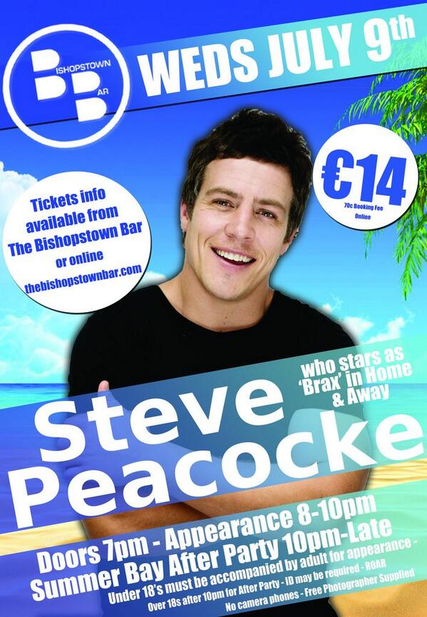 The bishopstown bar on twitter steve peacocke who plays brax in the bishopstown bar on twitter steve peacocke who plays brax in home away meet greet photo is here weds 9th july m4hsunfo
