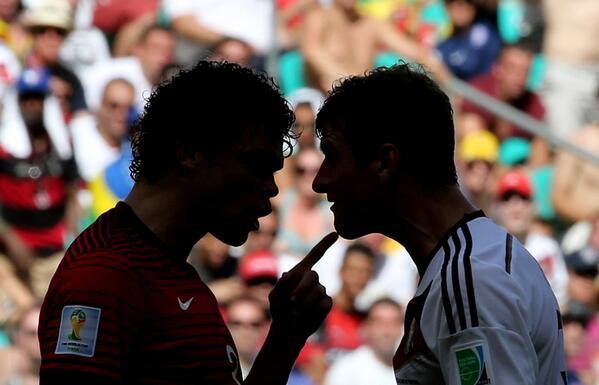 Germany 4-0 Portugal: Müller scored a hat-trick, Ronaldo's hair got disheveled. Pepe was sent off for being Pepe. http://t.co/7ITbDZrxlo
