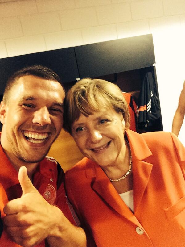 The Chancellor and me after the victory..... #selfie #dfb #poldi #aha #merkel #brazil #worldcup #moments http://t.co/5jkTb2QjUI