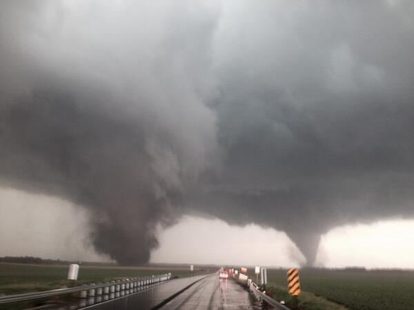 Incredible image from @StormCoker of the dueling tornadoes near Wisner, Nebraska: http://t.co/j5t22Pflq0