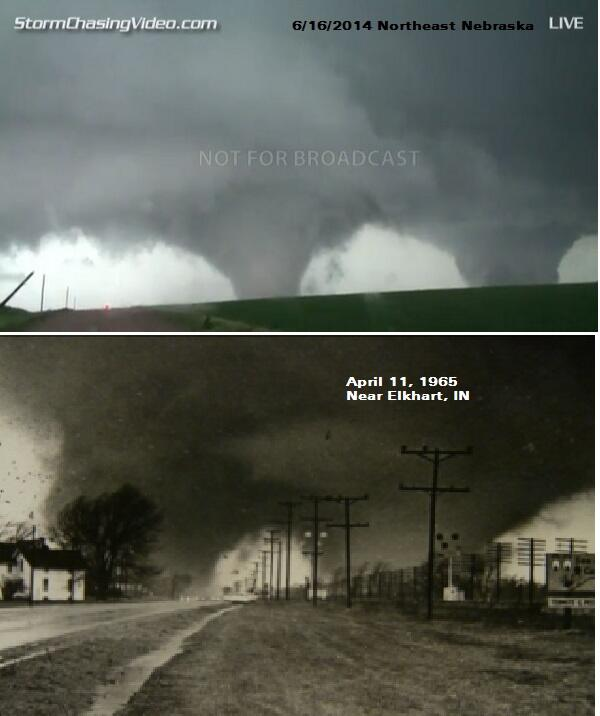 Twin #tornadoes in #NEwx (top img via @USTornadoes) compared to Palm Sunday Outbreak twins 1965 in #INwx.  Eerie http://t.co/mZpgjzyBwD