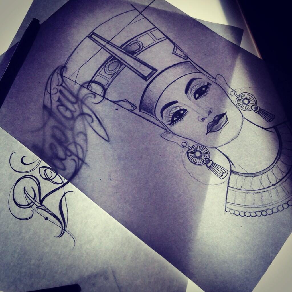 """Queen Nefertiti Tattoo: KAY CARTER On Twitter: """"#tattoo #sketch #nefertiti"""