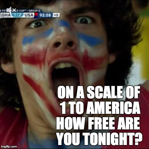 On a scale of 1 to America, how free are you tonight? #USAvGHA #Dempsey #Brooks #WorldCup http://t.co/yjrT1Jn3ds