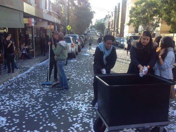 For take 3 in Newtown for @coldplay the confetti stars need to be recycled #ASFOSvideo http://t.co/ZVFEONTbyE