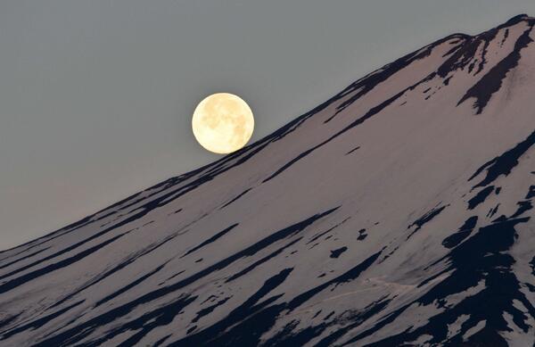 【写真特集】富士山と満月を狙い続けています。写真特集「パール富士輝く」でご覧いただけます。写真は6月14日夜明け、赤みを帯びた山頂近くの稜線にぴったり付いた満月です(井)/パール富士輝く s.nikkei.com/H8mESb pic.twitter.com/RF5asX20rO