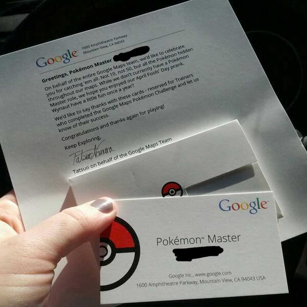 """Googleが世界中の""""ポケモンマスター""""に名刺風認定カードを送付、世界中から報告が bit.ly/1vyDPzO pic.twitter.com/aXWRmVT9Bj"""