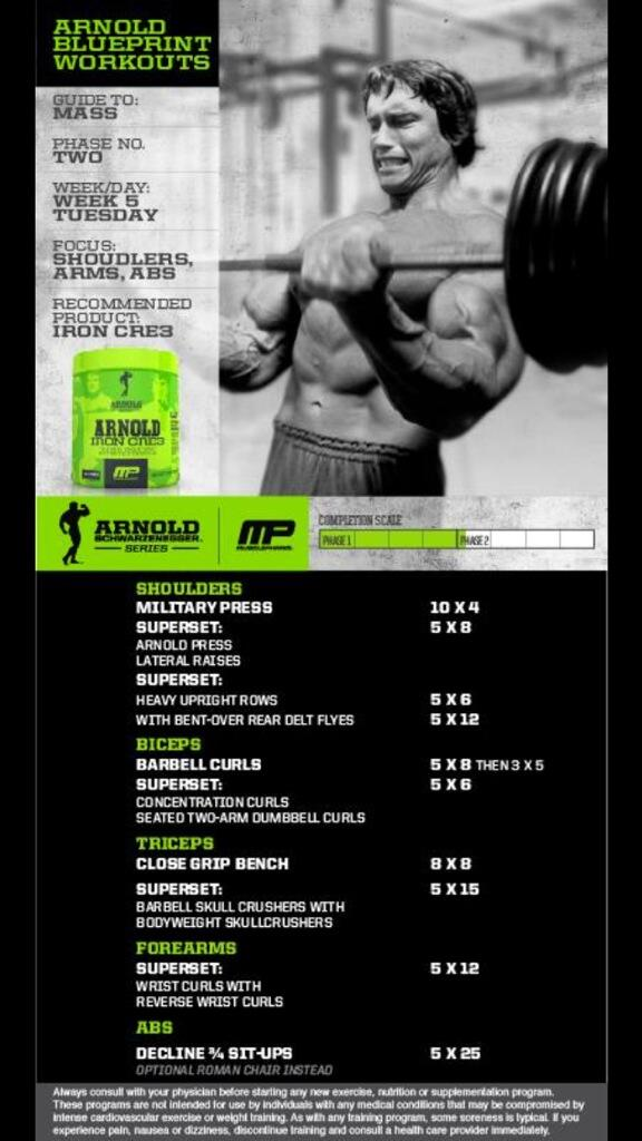 Cory Gregory On Twitter Arnoldseries Blueprint To Mass Workout Week Shoulders Arms Abs By Arnold Schwarzenegger