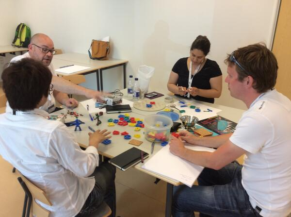 Participants of the workshop 'design for repurposing' are busy repurposing a variety of objects :) #IDCdk @idc2014 http://t.co/zNoDYrXtsv