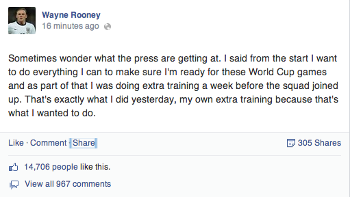 Wayne Rooney hits back at English media on FB for saying he was training with WC reserves