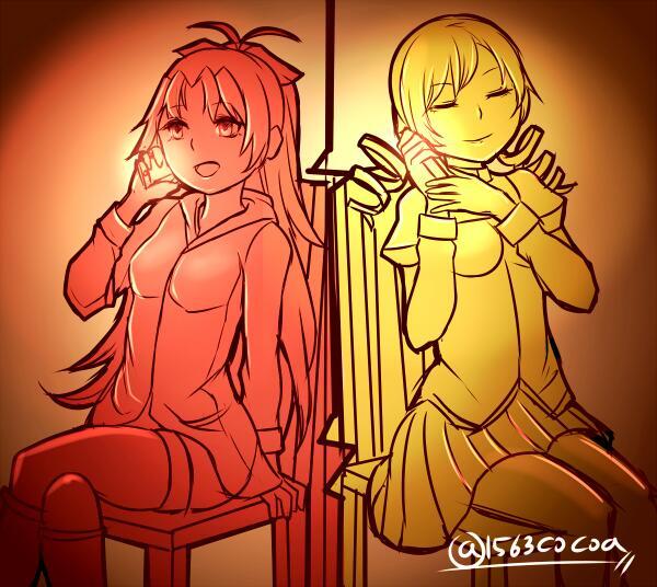マミと杏子の深夜の長電話 #まどマギ版真剣深夜のお絵かき60分一本勝負