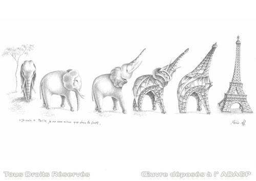 eiffel4ever on twitter i am going to paris metamorphosis of the elephant in eiffel tower original pencil drawing httptcoxt0ebpyudb