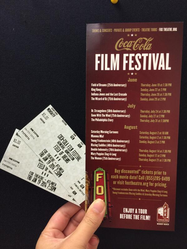 Giving away 2 tix to @CocaCola Film Fest showing of Field of Dreams at @TheFoxTheatre 6/19. RT for a chance to win! http://t.co/EJtDN5Fsyn