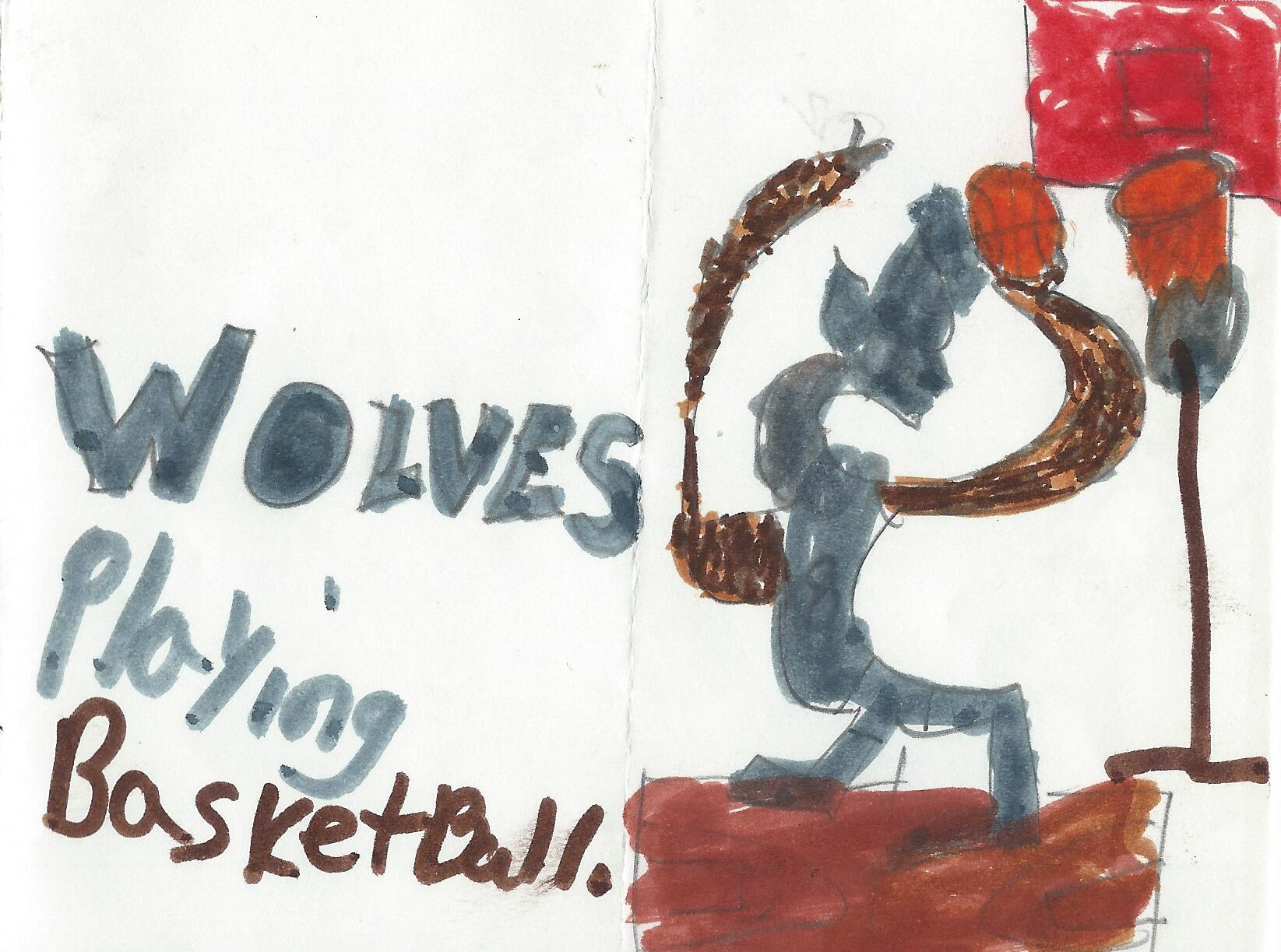 Wolves playing basketball by Teonne, age 8 #StudentWork http://t.co/scLNPBVd34