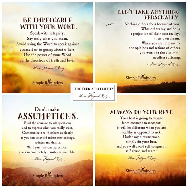 """SimpleReminders On Twitter """"The Four Agreements By"""
