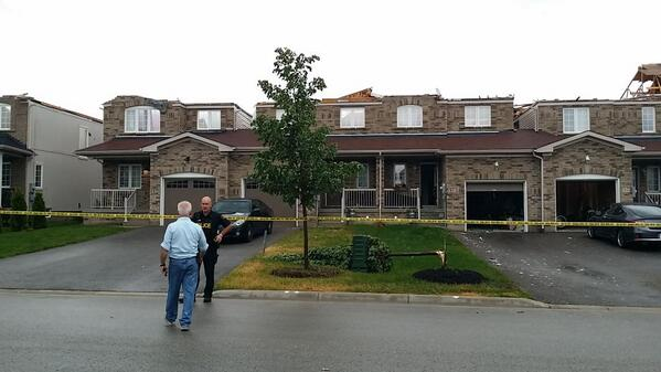 Incredible shot from #Angus - roofs completely ripped off. RT @CLBentley #angustornado http://t.co/zUlyJDmlmL