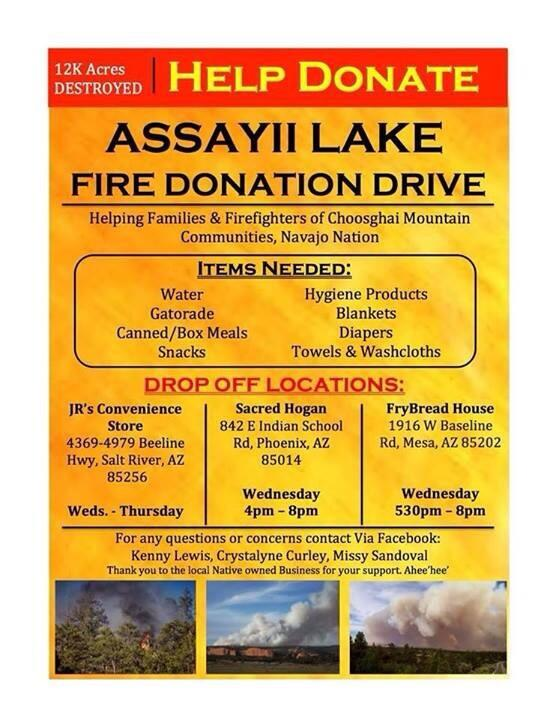To any1 in the #Phx valley who want to help donate to displaced families due to #AsaayiLakeFire, drop-off locations: http://t.co/NbDqkOzliN