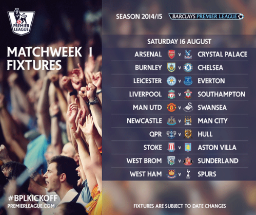 BqZc80MCAAAO tL REVEALED: See the 2014 15 EPL fixtures for Arsenal, Man United, City, Liverpool, Spurs, Chelsea & more