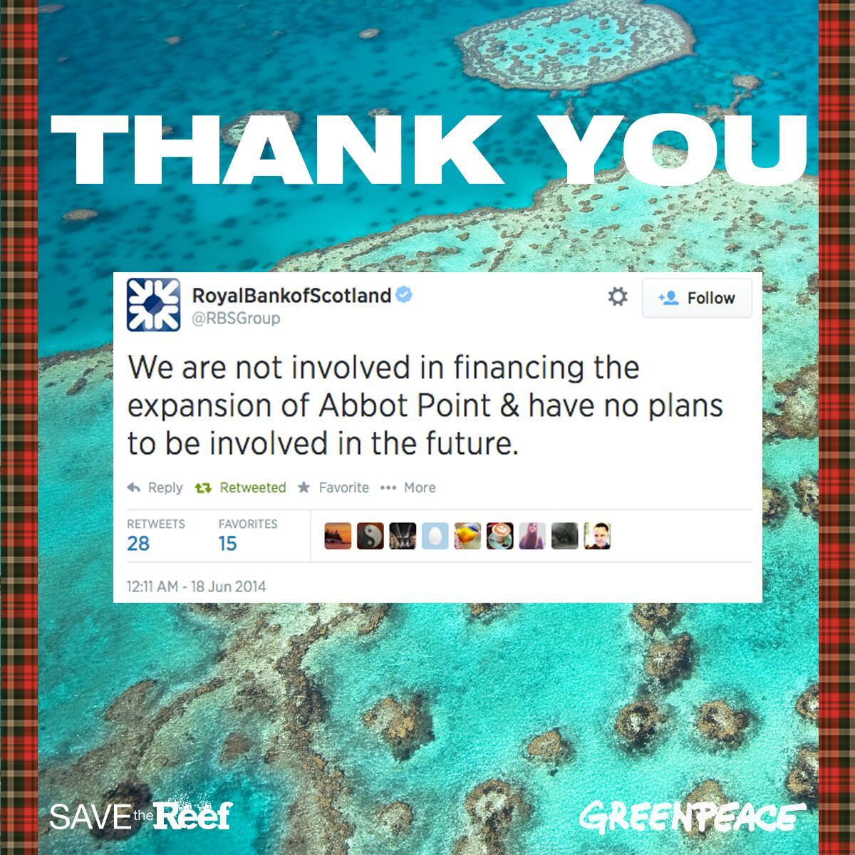Twitter / GreenpeaceAustP: Fantastic news! .@rbsgroup ...
