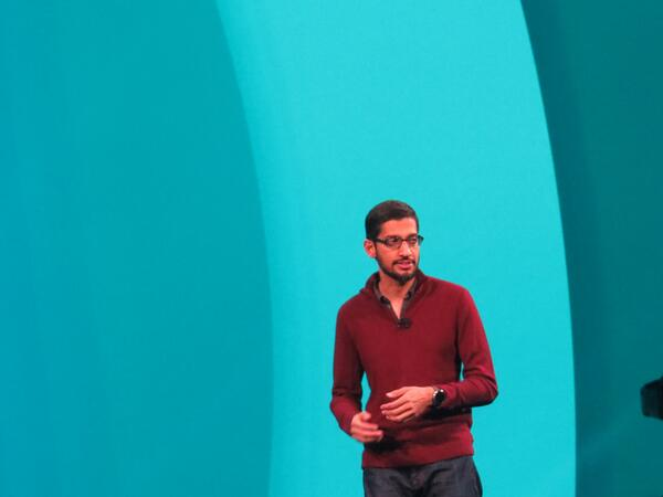 Sundar Pichai onstage at Google IO. Says one million people are watching the livestream. http://t.co/iRay7zs0XI