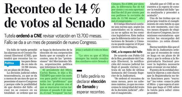Thumbnail for Fallo ordena a Registraduría y CNE reconteo de votos