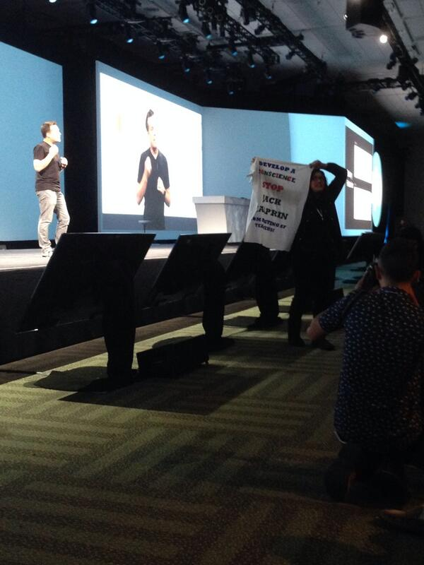 "This just happened. ""We interrupt this keynote for a short protest."" Never dull... #io14 http://t.co/fJDntxc9m4"
