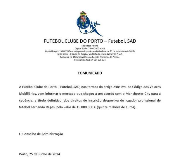 FC Porto release statement confirming that theyve sold Fernando to Manchester City for €15million