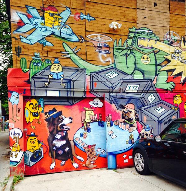 Lots of great graffiti&homemade art in Toronto's Kensington Market nabe. http://t.co/R7koCbCLL6