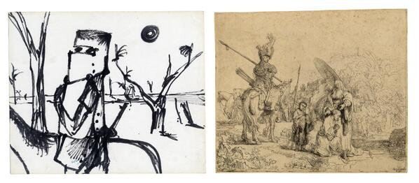 Sidney Nolan drawing from #AUS and Rembrandt print from #NED http://t.co/GWYZornSpI http://t.co/Bg8chRhA86 #WorldCup http://t.co/NMEGwrUVF1