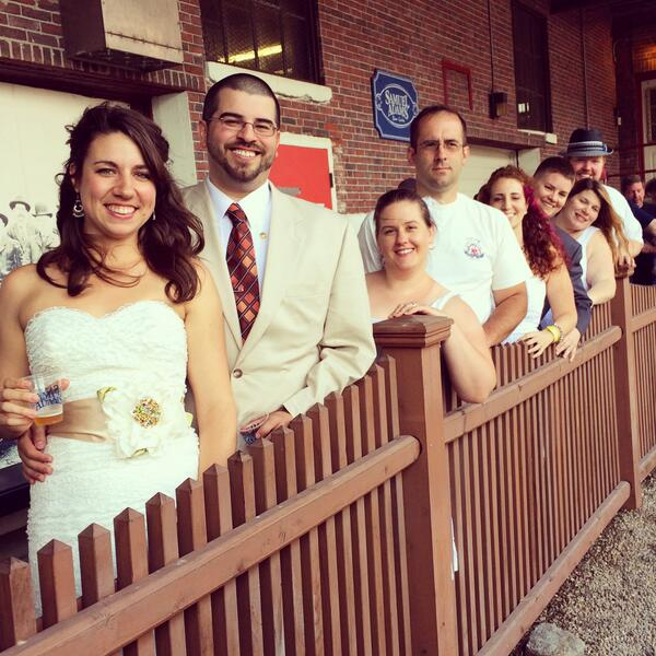 The happy couples gettin' hitched at the Brewery today! #brewlywed #fortheloveofbeer http://t.co/c4gHMIW89v